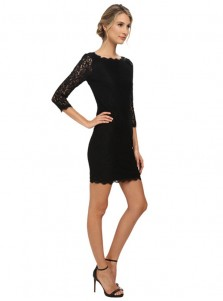 Bateau 3/4 Sleeves Black Lace Bodycon Party Dress