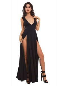 Sexy Deep V-Neck Split Front Black Club Dress