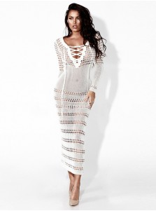 V-Neck Lace-Up Front Long Sleeves Hollow Bodycon Dress