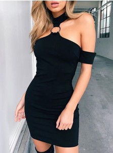 Sexy Halter Backless Black Club Mini Dress