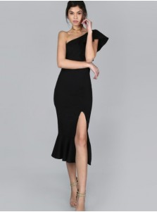 Split Front One Shoulder Ruffles Black Bodycon Dress