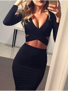 Plunging Neck Open Back Black Bodycon Dress