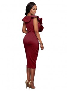 Deep V-Neck Burgundy Bodycon Dress with Ruffles