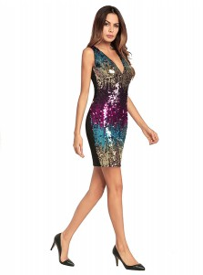 V-Neck Ombre Sequin Multi Color Club Short Dress
