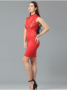 High Neck Red Bodycon Dress with Lace