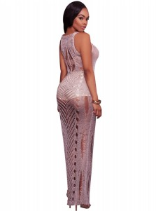Sheath Round Neck Knitted Club Long Dress