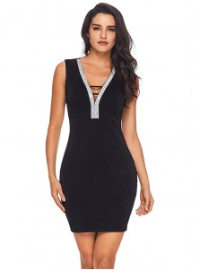 V-Neck Open Back Black Bodycon Dress