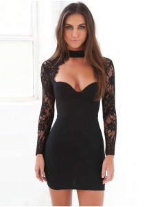 Choker Neck Long Sleeves Black Bodycon Dress with Lace