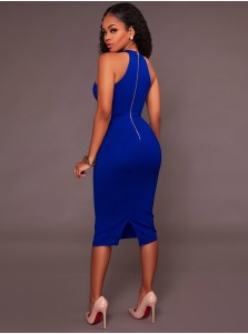 Round Neck Royal Blue Bodycon Party Dress