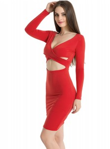 Deep V-Neck Long Sleeves Red Club Dress