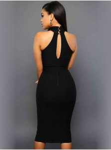 High Neck Keyhole Back Black Bodycon Party Dress