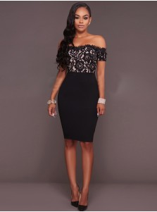 Off the Shoulder Black Bodycon Dress with Lace