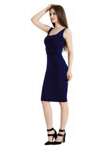 Square Neck Solid Dark Blue Club Cami Dress