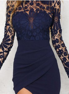 Round Neck Long Sleeves Bodycon Party Dress with Lace