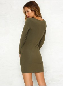 Button Front Long Sleeves Bodycon Party Dress