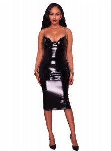 PU Spaghetti Straps Plus Size Black Club Dress