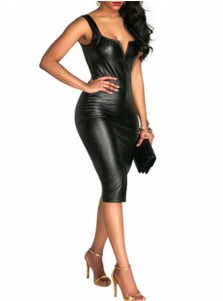Bodycon Scoop Neck PU Solid Black Club Dress