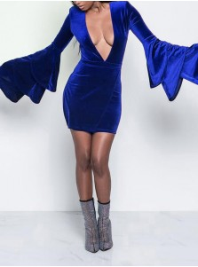 Sexy Pluning Neck Flare Sleeves Royal Blye Bodycon Dress