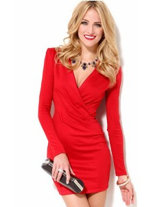 V-Neck Long Sleeves Red Bodycon Dress