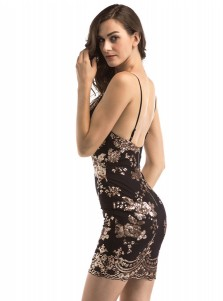 Sexy Spaghetti Straps Backless Sequins Black Club Dress