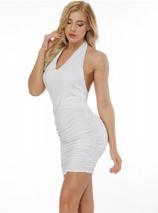 Halter Sleeveless Backless White Club Dress