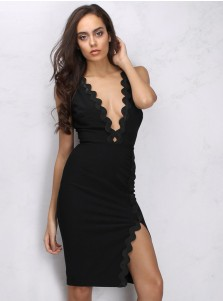 Side Slit Deep V-Neck Black Club Dress