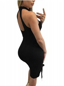Hollow Round Neck Open Back Black Club Dress