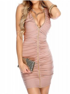 Deep V-Neck Sleeveless Pink Ruched Club Dress