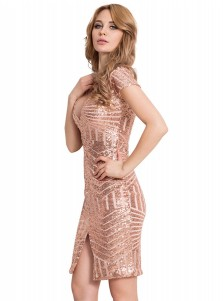 V-Neck Short Sleeves Rose Gold Sequin Club Dress