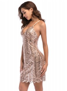 Spaghetti Straps Backless Rose Gold Sequin Club Dress