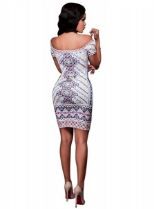 Print Off the Shoulder White Club Dress