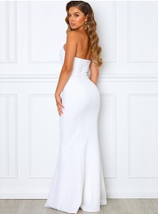 Mermaid Strapless Sleeveless Long Bridesmaid Dress With Zipper-up