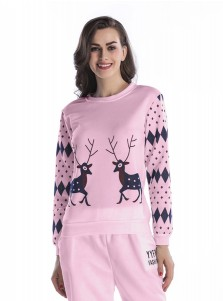 Reindeer Geometry Printed Raglan Sleeve Christmas Sweatshirts