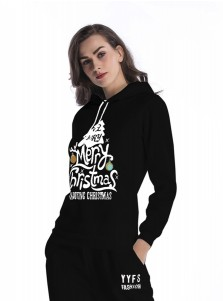 Letter Printed Drawstring Long Sleeve Black Hooded Sweatshirt