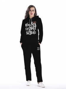 Letter Snowflake Printed Drawstring Hooded Sweatshirt Set with Pockets