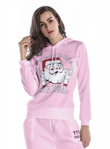 Santa Claus Letter Printed Drawstring Hooded Christmas Sweaters