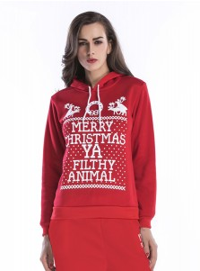 Reindeer Letter Printed Drawstring Red Hooded Sweatshirt