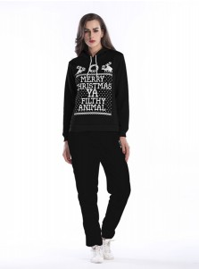 Reindeer Letter Printed Drawstring Black Hooded Sweatshirt Set with Pockets