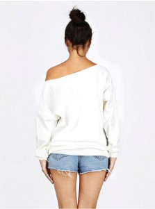 Oblique Shoulder Arrow Reindeer Long Sleeve White Sweatshirt