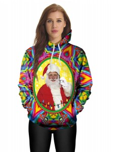 3D Printed Santa Claus Kangaroo Pockets Drawstring Hooded Sweatshirt