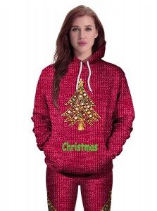 3D Christmas Tree Letter Printed Drawstring Burgundy Hooded Sweatshirt