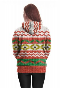 Color Block Printed Kangaroo Pocket Drawstring Textured Hooded Sweatshirt