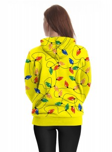 3D Printed Yellow Kangaroo Pocket Long Sleeve Hoodie
