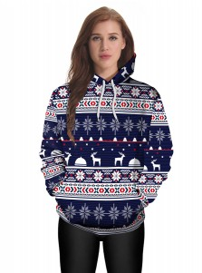 Dark Blue 3D Snowflake Printed Kangaroo Pocket Patchwork Hooded Sweatshirt