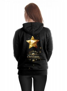 Black Letter Christmas Tree Printed Kangaroo Pocket Drawstring Hoodie