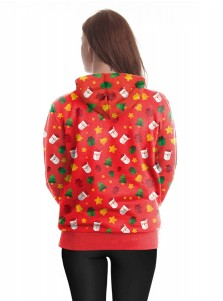 Red Printed Zip Up Drawstring Hoodie Coat with Pocket
