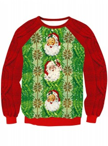 Long Sleeve Santa Claus Printed Knitted Christmas Sweatshirt