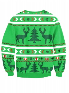 Green 3D Printed Long Sleeve Christmas Pullover Sweatshirt