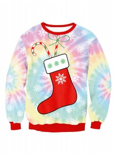 Multi Color Crew Neck Long Sleeve Socks Printed Christmas Sweatshirt