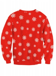Red Crew Neck Snowflake Printed Christmas Pullover Sweatshirt